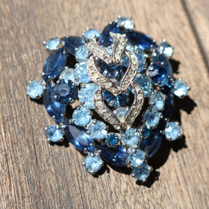 Vintage | Weiss Blue Crystal Heart Brooch